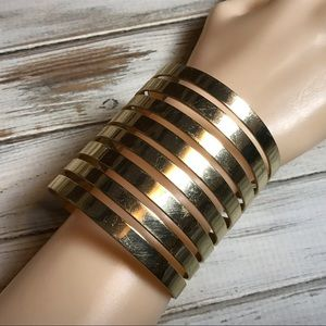 Jewelry - Very wide gold tone metal cuff statement bracelet